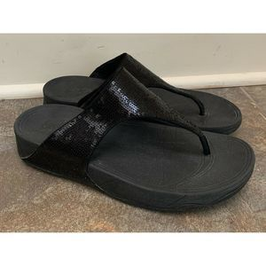 FitFlop Womens Electra Thong Sandals Black Sequins